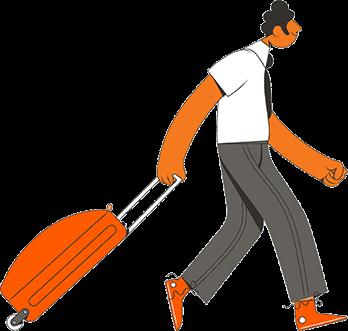 Ilustração de uma pessoa caminhando com uma mala