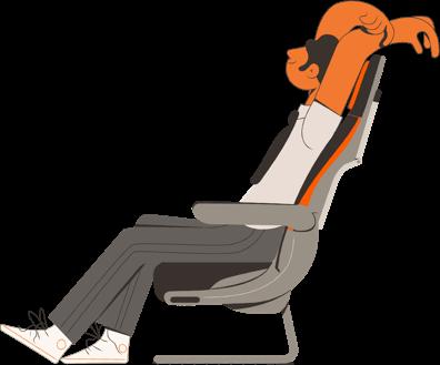 Ilustração de uma pessoa sentado em uma poltrona