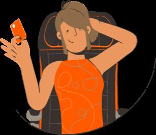 Ilustração de uma pessoa segurando o cartão categoria Smiles