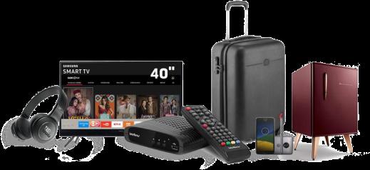 TV 40, Fone de Ouvido, Mala, Smartphone e Refrigerador